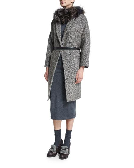 Brunello Cucinelli Long-Sleeve Chevron Coat W/Monili Trim, Bark