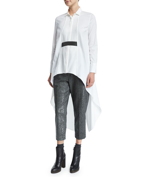 Brunello Cucinelli High-Low Tunic W/Monili Belt, White/Ultra