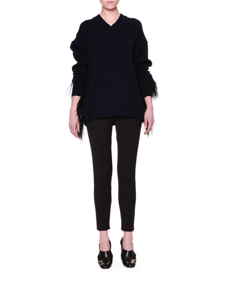 Jil Sander V-Neck Feather-Trim Fur Sweater, Black