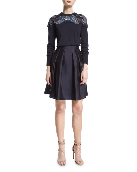 BurberryLong-Sleeve Lace-Yoke Sweater, Navy