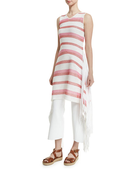 Stella McCartney Sleeveless Striped Tunic Dress W/Fringe