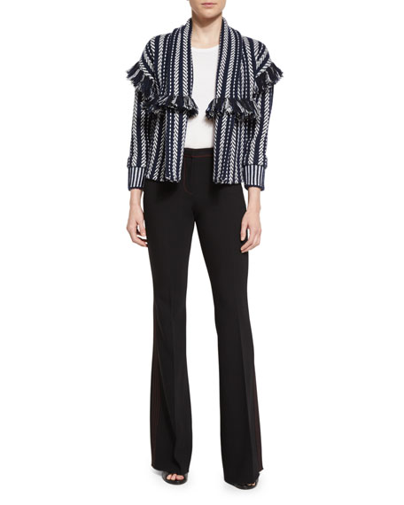 Burberry Prorsum Striped Fringe-Trim Cardigan, Navy