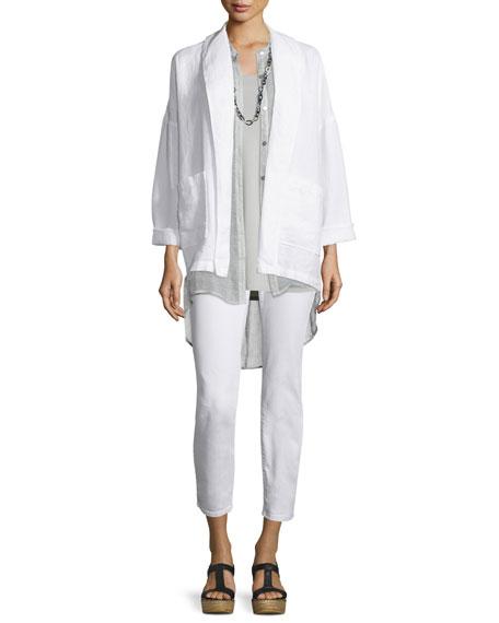 Eileen Fisher Sleeveless Button-Front Mesh Shirt, Silver