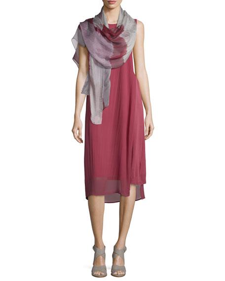 Eileen FisherSleeveless Silk Sheer-Overlay Dress