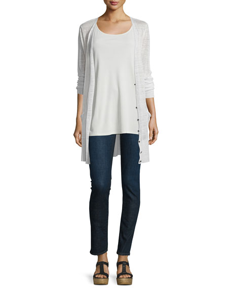Eileen Fisher V-Neck Button-Front Long Sheer Hemp Cardigan