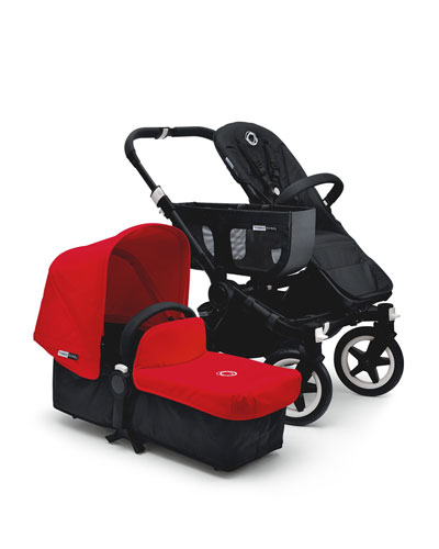 Donkey Stroller Base, Bassinet Base, Duo Extension Kit, Extended Sun Canopy & Tailored Fabric Set, Black