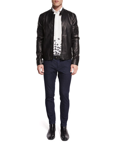 Basic Zip-Up Leather Jacket, Gradient Star-Print Woven Sport Shirt & Slim-Fit Dark Wash Stretch Denim Jeans