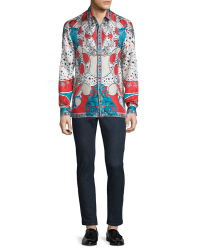 Baroque Star-Print Silk Sport Shirt & Slim-Fit Dark Wash Stretch Denim Jeans