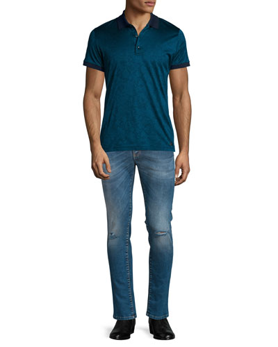 Jacquard Tonal-Print Short-Sleeve Polo Shirt & Destroyed Skinny-Leg Bleached Denim Jeans