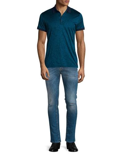 Jacquard Tonal-Print Short-Sleeve Polo Shirt & Destroyed Skinny-Leg Bleached Denim Jeans