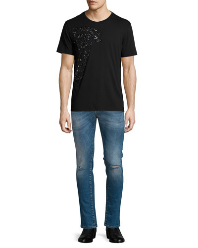 Studded Medusa Head Short-Sleeve T-Shirt & Destroyed Skinny-Leg Bleached Denim Jeans