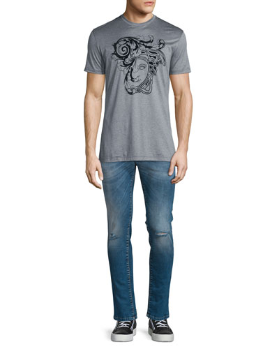 Flocked Medusa Head Short-Sleeve T-Shirt & Destroyed Skinny-Leg Bleached Denim Jeans