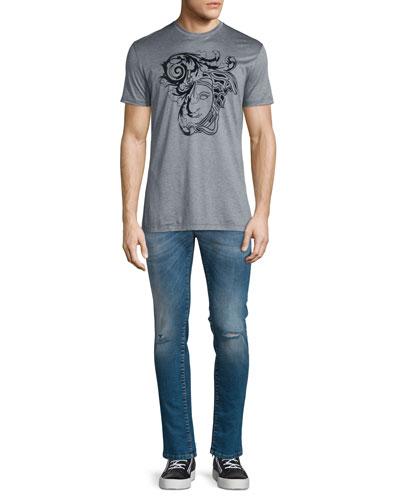 Flocked Medusa Head Short-Sleeve T-Shirt & Destroyed Skinny-Leg Bleached Denim Jeans