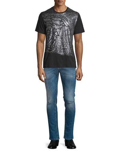 Sprayed Medusa Head Short-Sleeve Graphic T-Shirt & Destroyed Skinny-Leg Bleached Denim Jeans