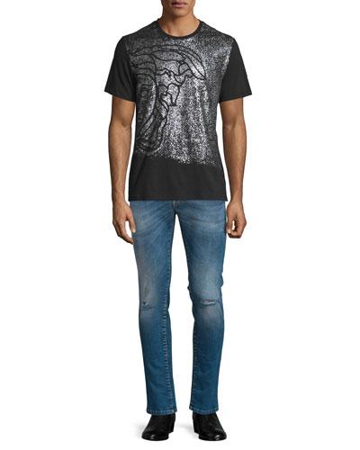 Sprayed Medusa Head Short-Sleeve Graphic T-Shirt & Destroyed Skinny-Leg Bleached Denim Jeans