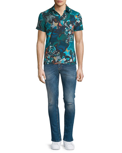 Allover Printed Short-Sleeve Polo Shirt & Destroyed Skinny-Leg Bleached Denim Jeans