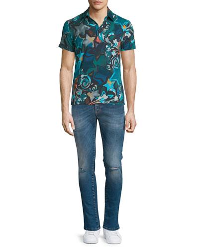 Allover Printed Short-Sleeve Polo Shirt & Destroyed Skinny-Leg Bleached Denim Jeans