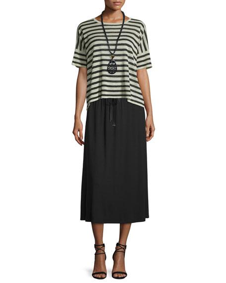 Eileen Fisher Short-Sleeve Striped Linen-Blend Top, Natural/Black