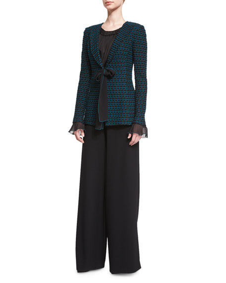 St. John CollectionNeva Tie-Front Knit Jacket, Caviar/Tanzanite
