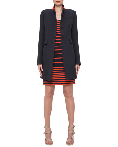Fitted Three-Button Colorblock Wool Coat & Sleeveless Striped Scoop-Neck Dress