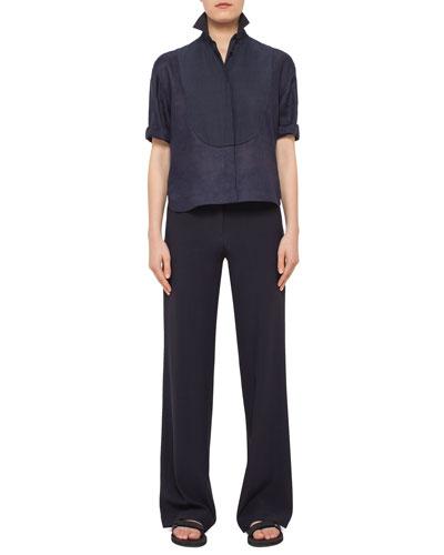 Half-Sleeve Pintucked Linen Blouse & Marla Wide-Leg Pants