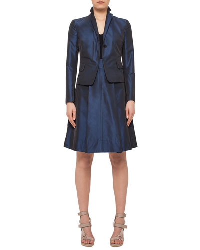 Iridescent One-Button Flap-Pocket Jacket, Ribbed V-Neck Half-Sleeve Top & Iridescent High-Waist Belted A-Line Skirt, Navy