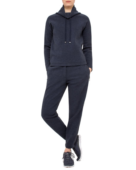 Akris punto Long-Sleeve Funnel-Neck Pullover, Denim