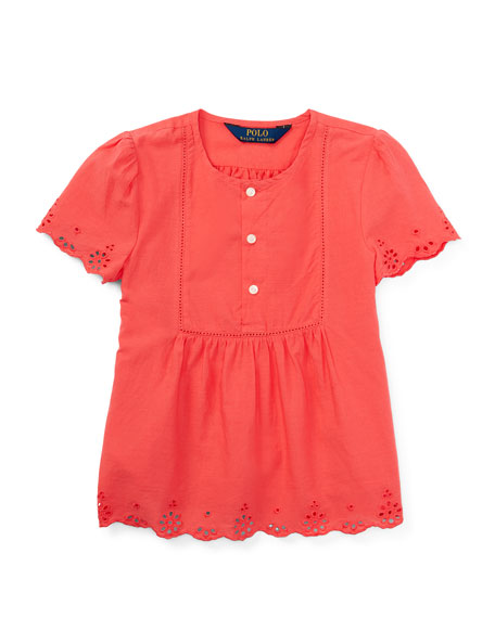 Ralph Lauren Short-Sleeve Cotton Batiste Top, Orange, Size