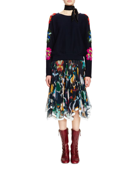 Chloe Floral-Embroidered Long-Sleeve Sweater, Navy