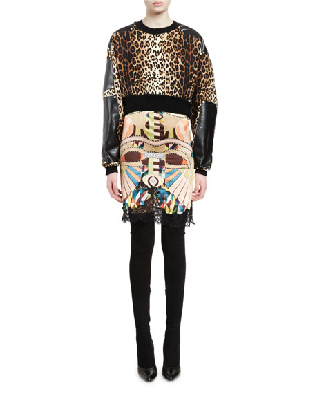 Givenchy Leopard-Print Cropped Pullover, Multi Colors