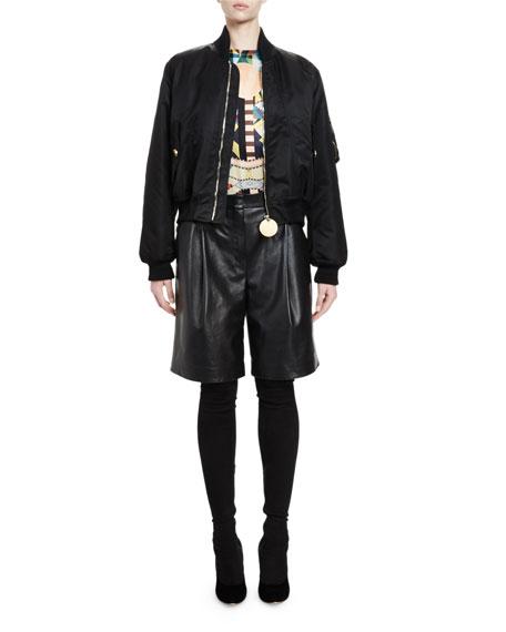 Givenchy Zip-Front Nylon Bomber Jacket, Black