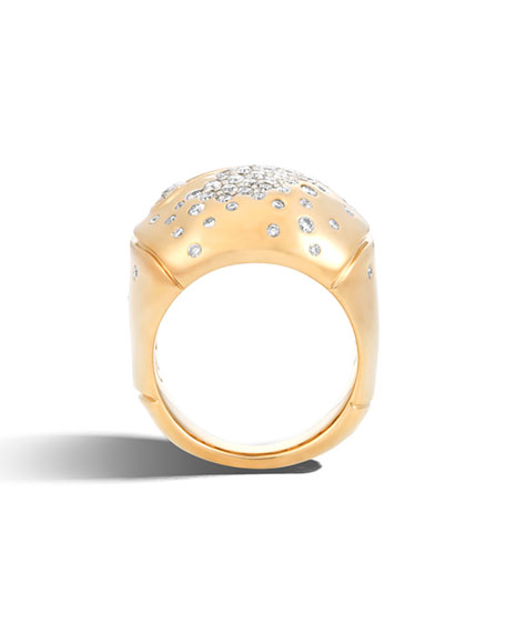 Bamboo 18k Gold Diamond Dome Ring, Size 8