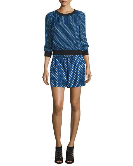 Diane von FurstenbergCarenza Diagonal Dots Silk Top, Black/Blue