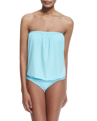 Solid Blouson Bandini Swim Top & Shirred-Side Solid Hipster Swim Bottom