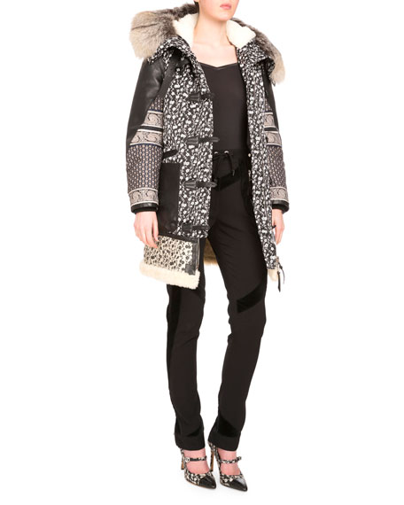 AltuzarraSmyrna Mixed-Print Coat W/Fur Collar, Black/Natural White