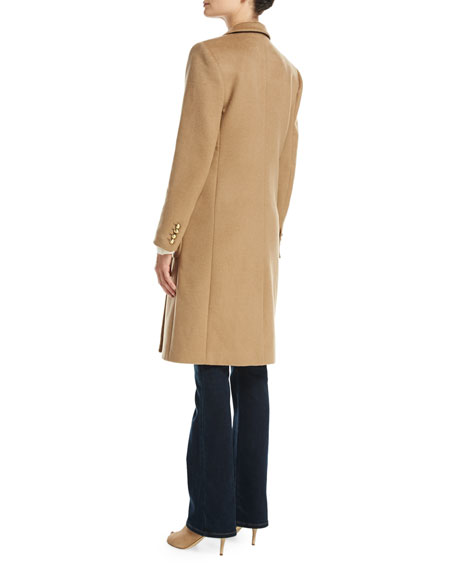 Tailored Double-Breasted Wool-Blend Coat, Dark Camel