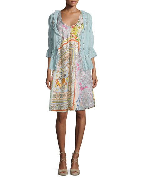 Johnny Was CollectionDainty Georgette Lace-Detail Cardigan, Seafoam