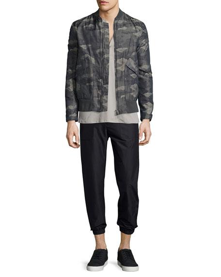 Helmut Lang Jacquard Camo-Print Nylon Jacket, Olive Slate