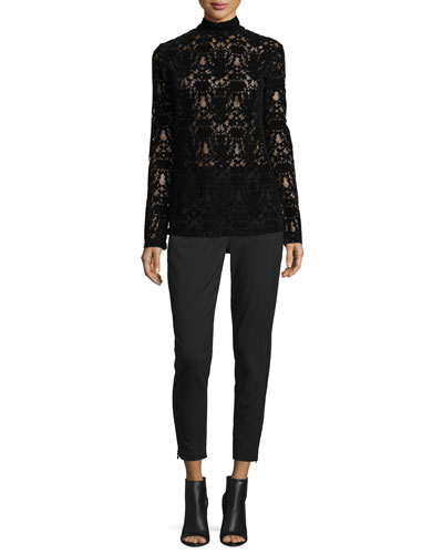 Long-Sleeve Lace Turtleneck Top & Cropped Tailored Relaxed Pants