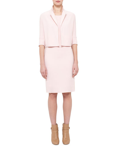 Emma 3/4-Sleeve Short Wool Cocoon Jacket & Sleeveless Wool Sheath Dress