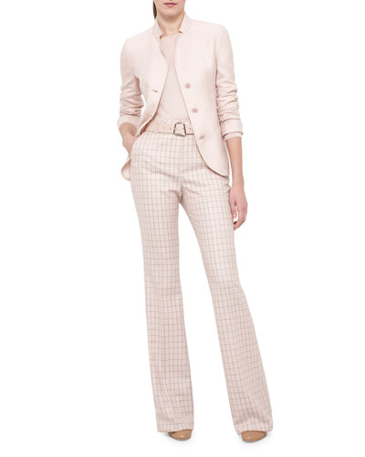 Single-Breasted Mock-Neck Jacket, Long-Sleeve Jewel-Neck Pullover & High-Waist Boot-Cut Check Pants