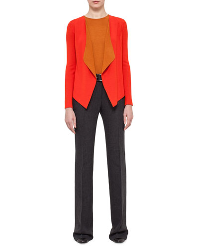 Draped Open-Front Two-Tone Cardigan, Sleeveless Cashmere/Silk Jewel-Neck Top & Farrah Boot-Cut Pants