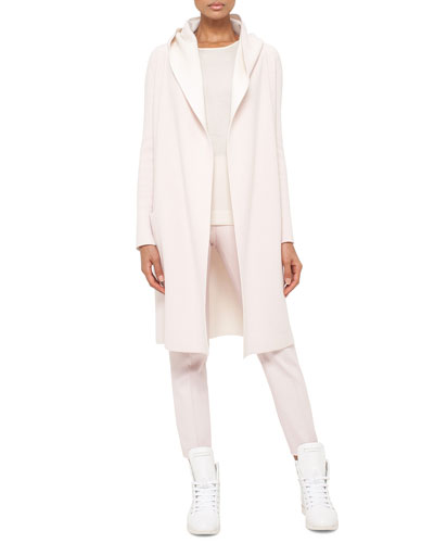 Long Oversized Reversible Cashmere Cardigan Coat, Long-Sleeve Cashmere/Silk Jewel-Neck Pullover & Conny Slim-Leg Ankle Pants, Flamingo