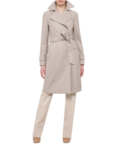 Belted Trench Coat, Long-Sleeve Round-Neck Pullover & Melissa Mid-Rise Slim Pants