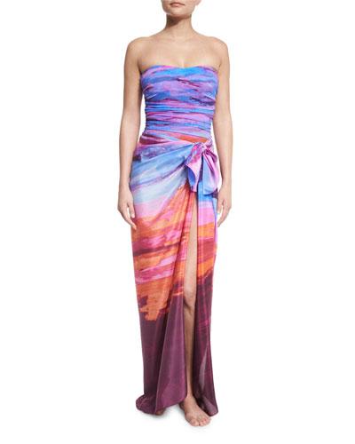 Horizon Printed Bandeau One-Piece Swimsuit & Horizon Printed Silk Pareo