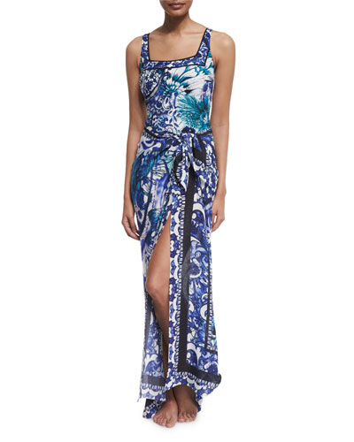 Legacy Paisley-Print One-Piece Swimsuit & Legacy Floral Silk Pareo, Blue