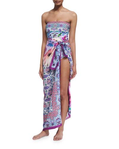 Le Jardin Floral-Print Bandeau One-Piece Swimsuit & Le Jardin Printed Silk Pareo