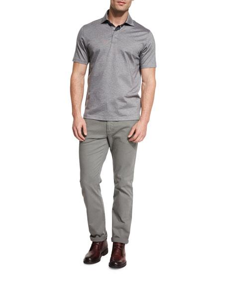 Ermenegildo ZegnaStretch-Cotton Polo Shirt, Grey/Navy