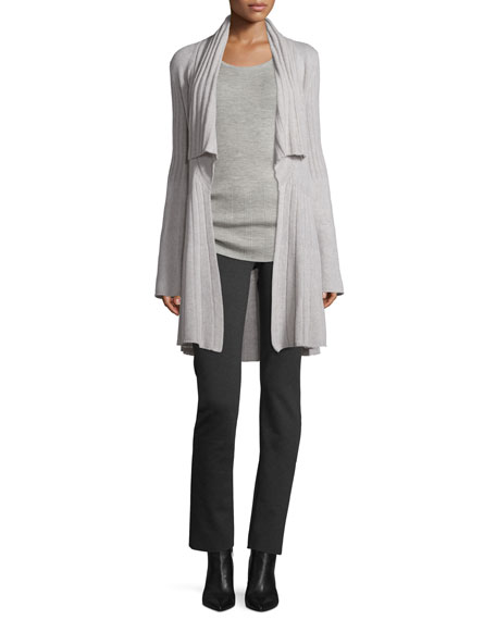 Derek Lam Open-Front Cozy Cashmere Sweater, Gray Melange