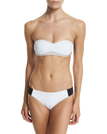 Stella Iconic Colorblock Bandeau Swim Top, Black/Stone/White